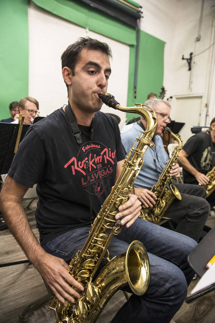 Saxophonist Mat Shumer rehearses for jazz soloist Michelle Johnson's upcoming tribute to Ella Fitzgerald on Wednesday, July 5, 2017, at Deftal Studios, in Las Vegas. Benjamin Hager Las Vegas Revie ...