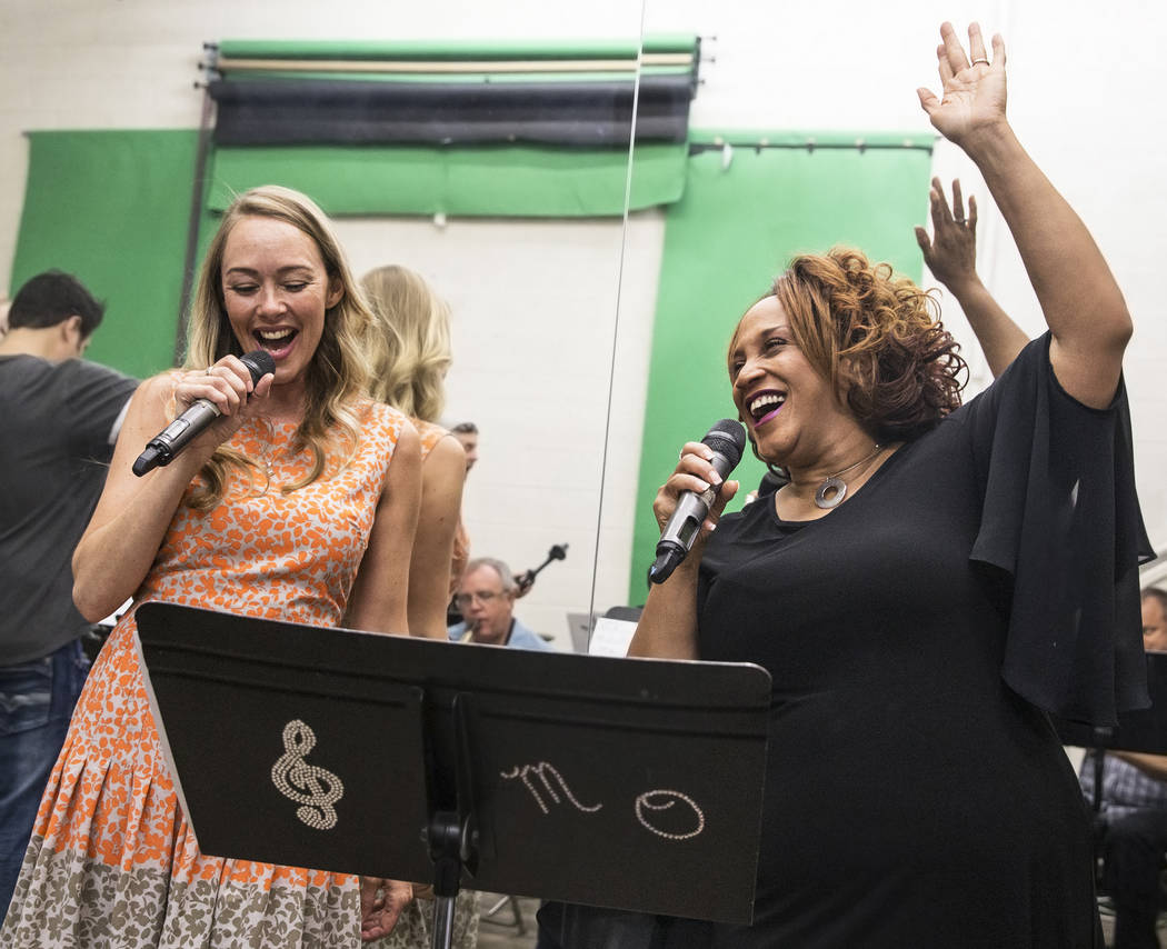 Michelle Johnson, right, and Naomi Mauro rehearse for Johnson's upcoming tribute to Ella Fitzgerald on Wednesday, July 5, 2017, at Deftal Studios, in Las Vegas. Benjamin Hager Las Vegas Review-Jou ...