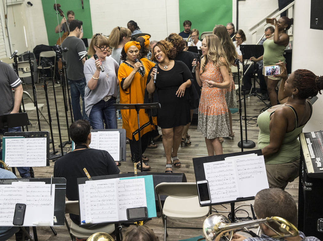 Jazz soloist Michelle Johnson, second from right, and cast rehearse for Johnson's upcoming tribute to Ella Fitzgerald on Wednesday, July 5, 2017, at Deftal Studios, in Las Vegas. Benjamin Hager La ...