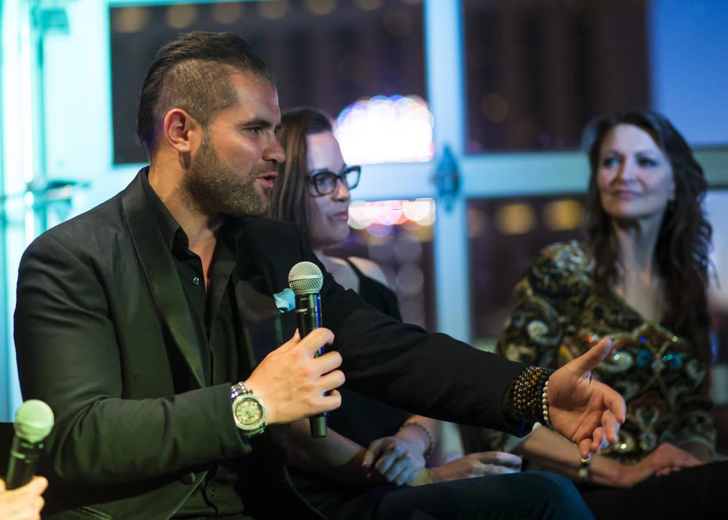 James Michael Sama speaks during the Great Love Debate at Redneck Riviera at the Grand Bazaar Shops in Las Vegas on Wednesday, June 28, 2017. Chase Stevens Las Vegas Review-Journal @csstevensphoto