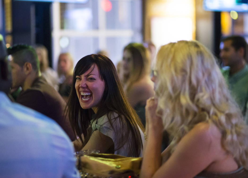 Erin Leigh reacts during the Great Love Debate at Redneck Riviera at the Grand Bazaar Shops in Las Vegas on Wednesday, June 28, 2017. Chase Stevens Las Vegas Review-Journal @csstevensphoto