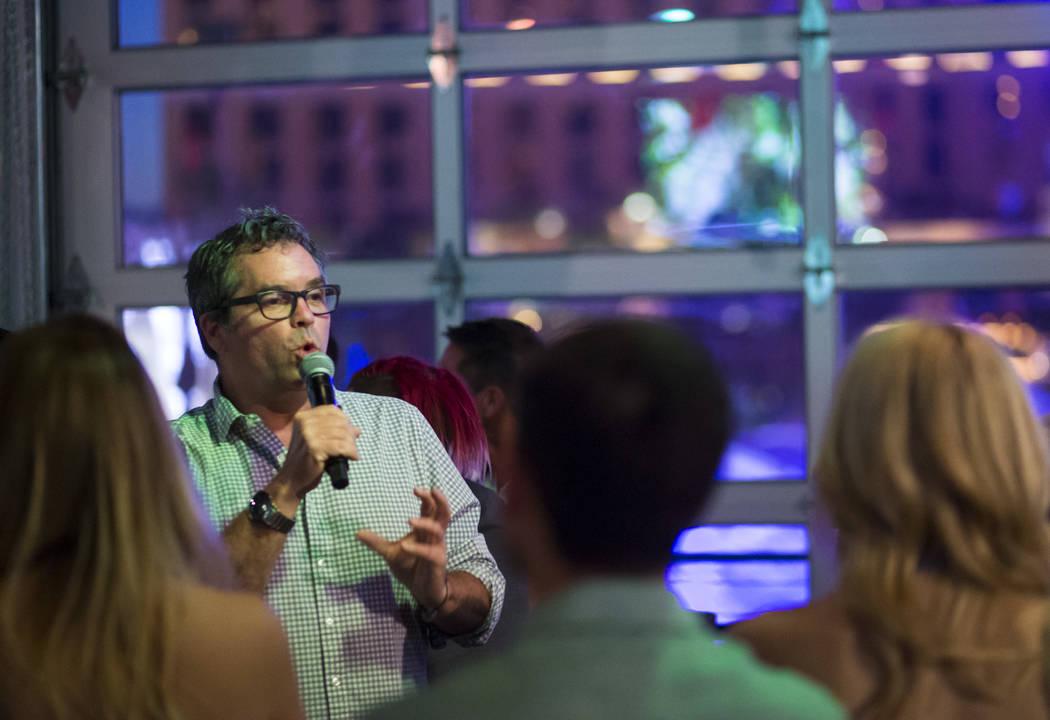 Brian Howie speaks during the Great Love Debate at Redneck Riviera at the Grand Bazaar Shops in Las Vegas on Wednesday, June 28, 2017. Chase Stevens Las Vegas Review-Journal @csstevensphoto