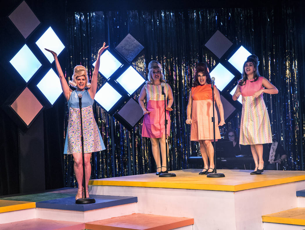 """Evelyn Connors, left, Kaci Machacyk, Cherity Harchis and Isabella Rooks work through a scene during rehearsals for Las Vegas Little Theatre's annual summer musical """"Beehive"""" on W ..."""