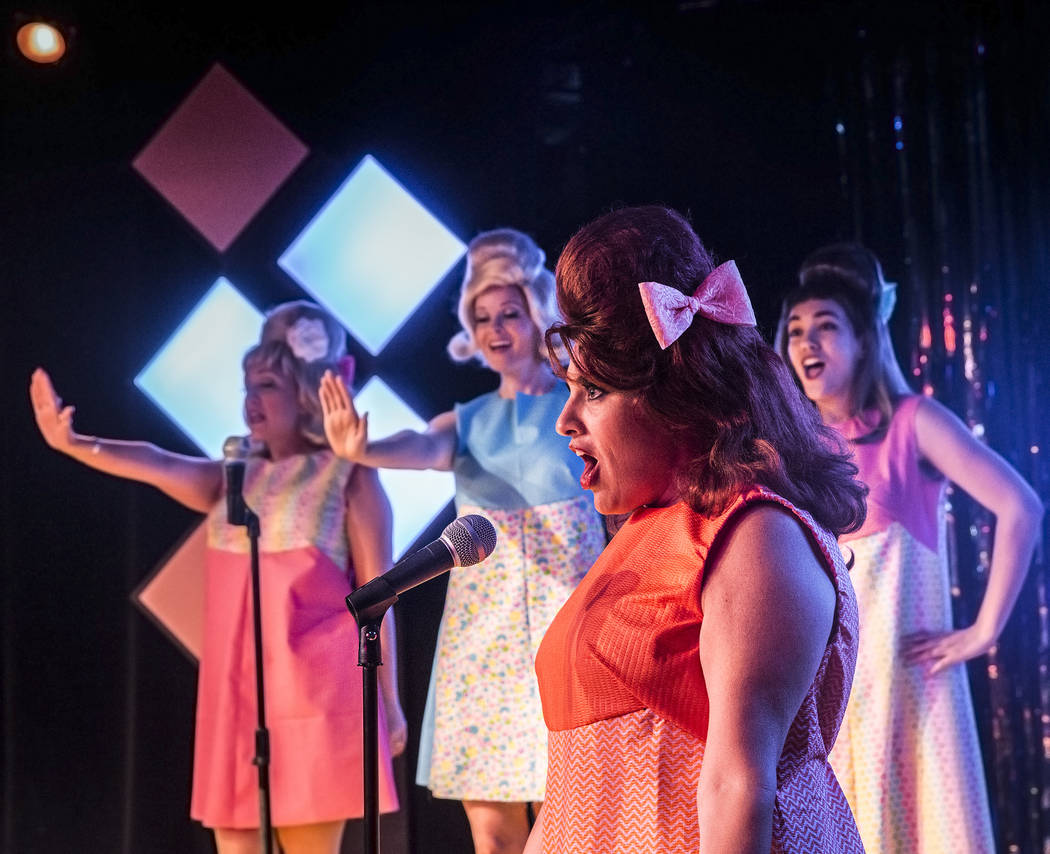 """Cherity Harchis, front/middle, works through a scene during rehearsals for Las Vegas Little Theatre's annual summer musical """"Beehive"""" on Wednesday, July 5, 2017, in Las Vegas. Benjamin Hager Las V ..."""