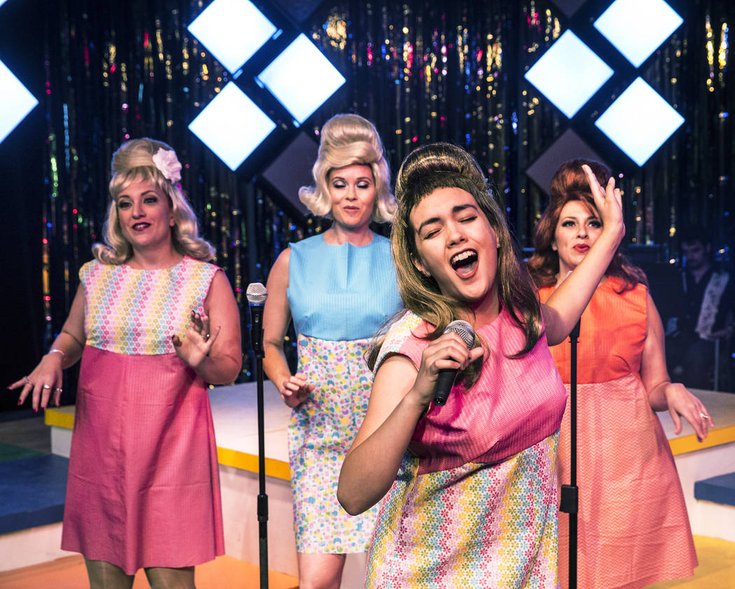 """Kaci Machacyk, left, Evelyn Connors, Isabella Rooks and Cherity Harchis work through a scene during rehearsals for Las Vegas Little Theatre's annual summer musical """"Beehive"""" on Wednesday, July 5,  ..."""