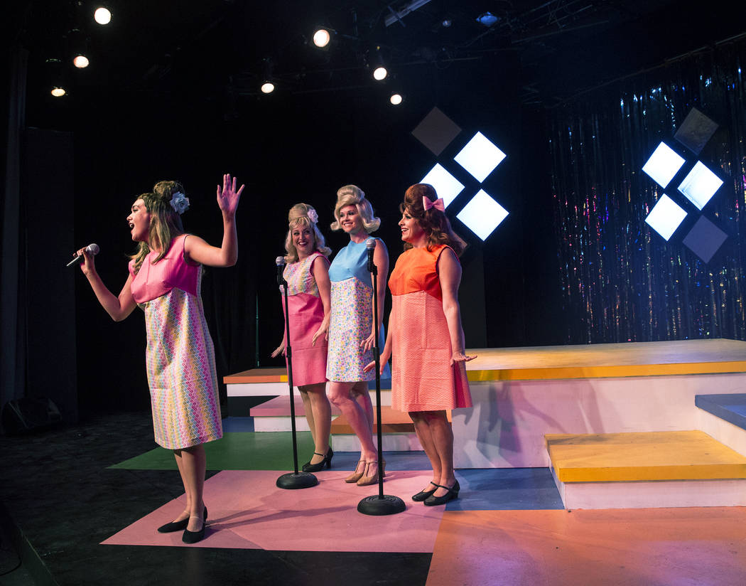 """Isabella Rooks, left, Kaci Machacyk, Evelyn Connors and Cherity Harchis work through a scene during rehearsals for Las Vegas Little Theatre's annual summer musical """"Beehive"""" on Wednesday, July 5,  ..."""
