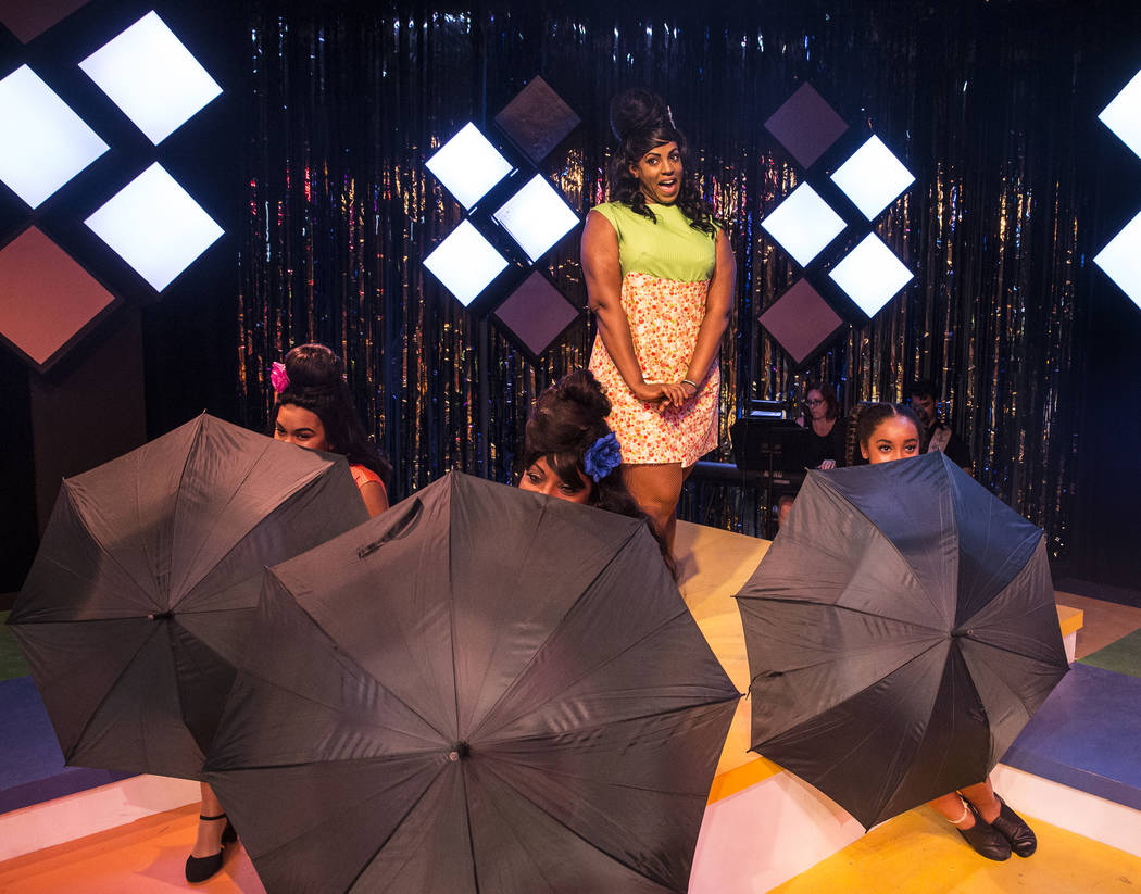 """Jillian Austin, top/middle, and cast work through a scene during rehearsals for Las Vegas Little Theatre's annual summer musical """"Beehive"""" on Wednesday, July 5, 2017, in Las Vegas. Benjamin Hager  ..."""