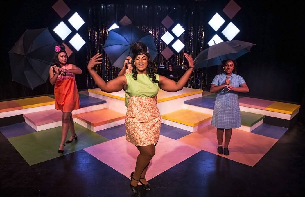 """Breonna Dobbs, left, Jillian Austin and Malia Blunt work through a scene during rehearsals for Las Vegas Little Theatre's annual summer musical """"Beehive"""" on Wednesday, July 5, 2017, in Las Vegas.  ..."""
