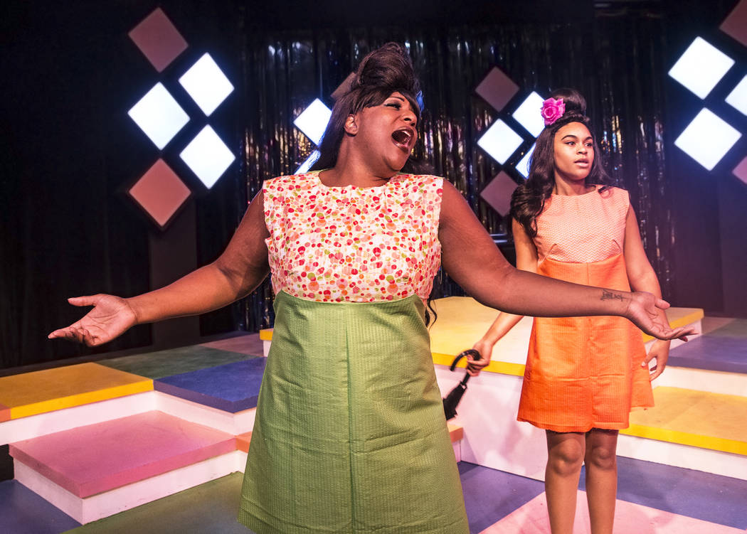 """Nakaze Harris, left, and Breonna Dobbs work through a scene during rehearsals for Las Vegas Little Theatre's annual summer musical """"Beehive"""" on Wednesday, July 5, 2017, in Las Ve ..."""