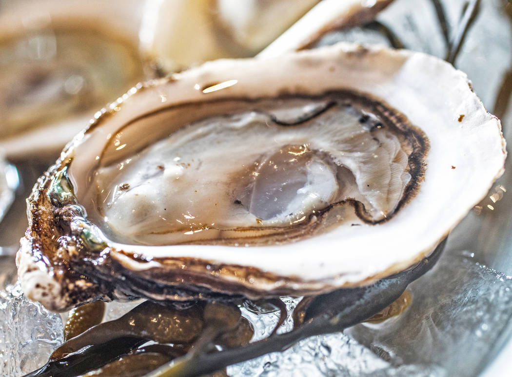Half dozen West Coast oysters at Oyster Bar on Wednesday, June 29, 2017, at the Hard Rock hotel-casino, in Las Vegas. Benjamin Hager Las Vegas Review-Journal @benjaminhphoto