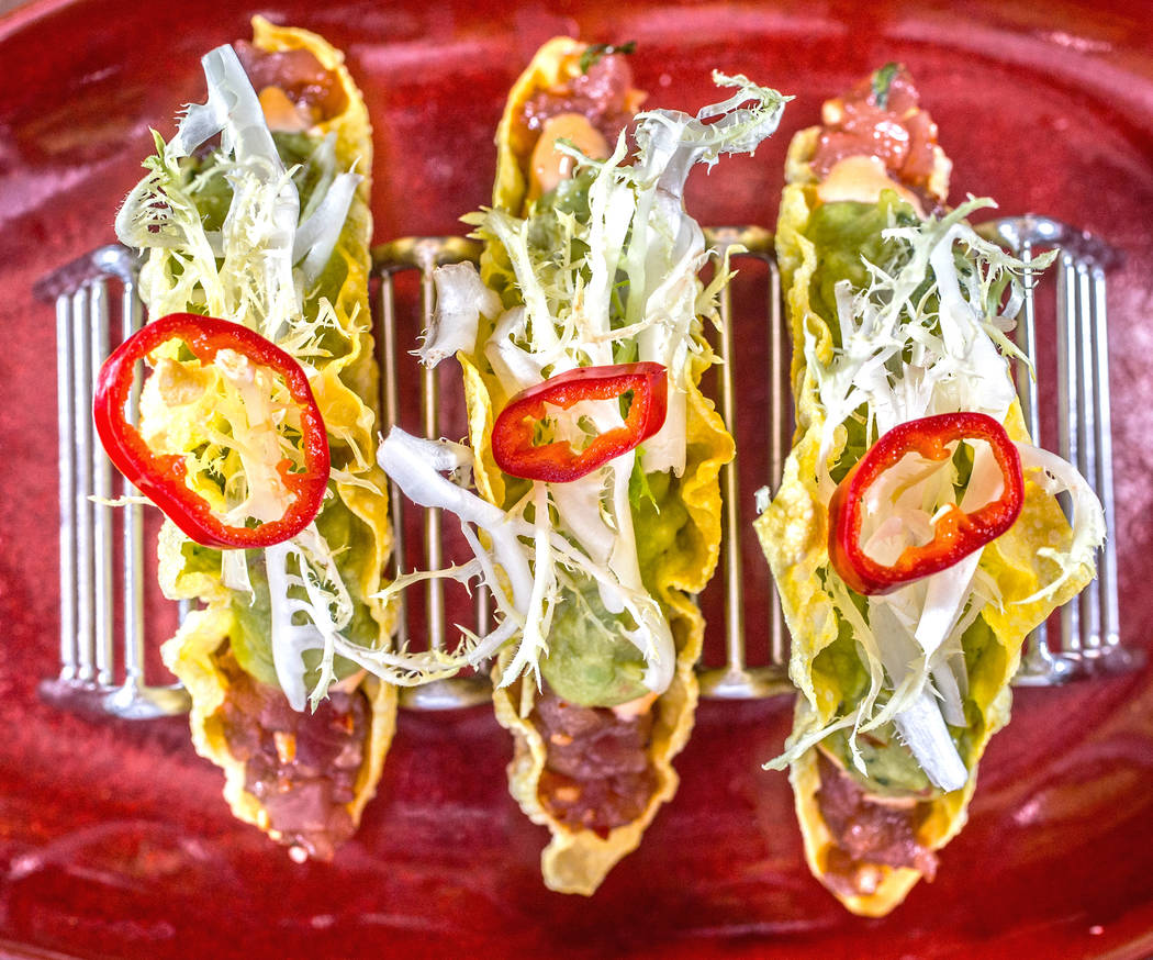 Ahi Tuna Tacos, with spicy aioli, yuzu guacamole and pickled chile at Oyster Bar on Wednesday, June 29, 2017, at the Hard Rock hotel-casino, in Las Vegas. Benjamin Hager Las Vegas Review-Journal @ ...