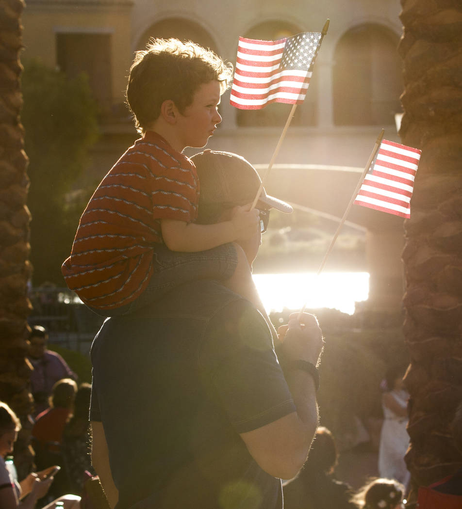 Hudson Humphreys, 3, sits on his dad Kevin Humphreys' shoulders during Fourth of July weekend celebrations at Lake Las Vegas on Sunday, July 2, 2017.  Patrick Connolly Las Vegas Review-Journal @PC ...