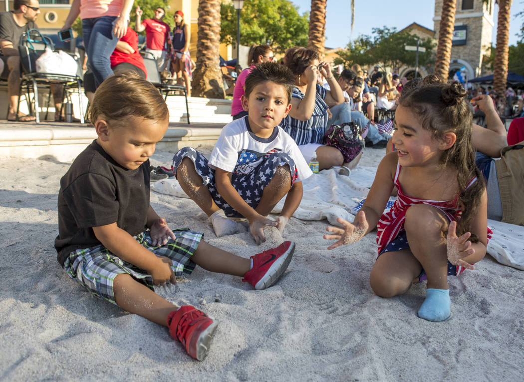 Christopher Watkins, 2, from left, Anthony Enriquez, 4, and Ceara Enriquez, 3 play in the sand during Fourth of July weekend celebrations at Lake Las Vegas on Sunday, July 2, 2017.  Patrick Connol ...