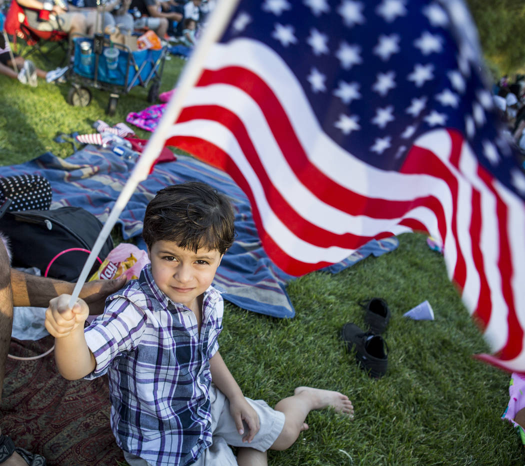 Alex Halhassan, 4, waves his flag during Fourth of July weekend celebrations at Lake Las Vegas on Sunday, July 2, 2017.  Patrick Connolly Las Vegas Review-Journal @PConnPie
