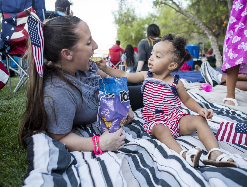 London McDonnell, 1, tries to feed her mother Linzi McDonnell chips during Fourth of July weekend celebrations at Lake Las Vegas on Sunday, July 2, 2017.  Patrick Connolly Las Vegas Review-Journal ...
