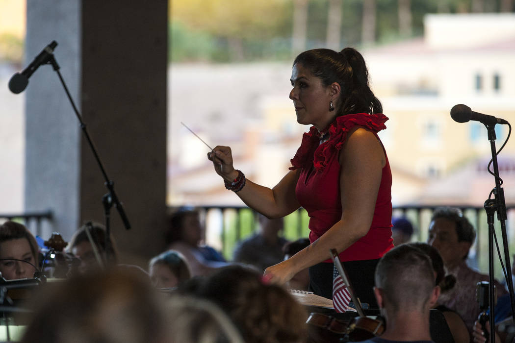 Alexandra Arrieche conducts the Henderson Symphony Orchestra during Fourth of July weekend celebrations at Lake Las Vegas on Sunday, July 2, 2017.  Patrick Connolly Las Vegas Review-Journal @PConnPie