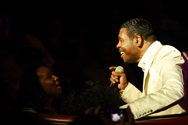 "Keith Sweat sings to an audince member during the opening night of his show ""Keith Sweat: Last Forever"" at The Flamingo Jan. 17. (Denise Truscello/WireImage)"