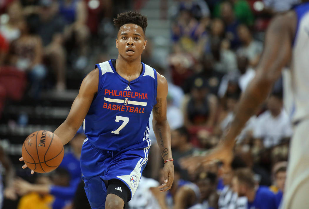 Philadelphia 76ers guard Markelle Fultz bring the ball up the court during the 76ers NBA Summer League game against the Golden State Warriors at Thomas and Mack Center in Las Vegas on Sa ...
