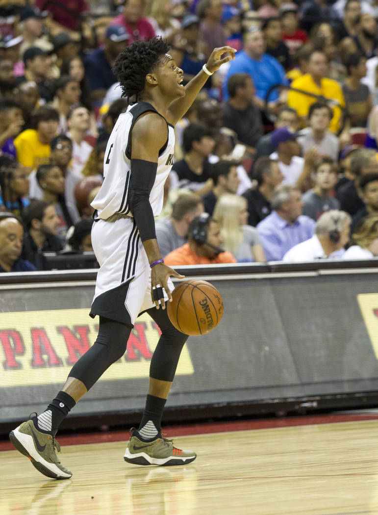 Sacramento Kings point guard De'Aaron Fox on the court against Los Angeles Lakers during the NBA summer league at the Thomas & Mack Center in Las Vegas, Monday, July 10, 2017. Richard Brian La ...