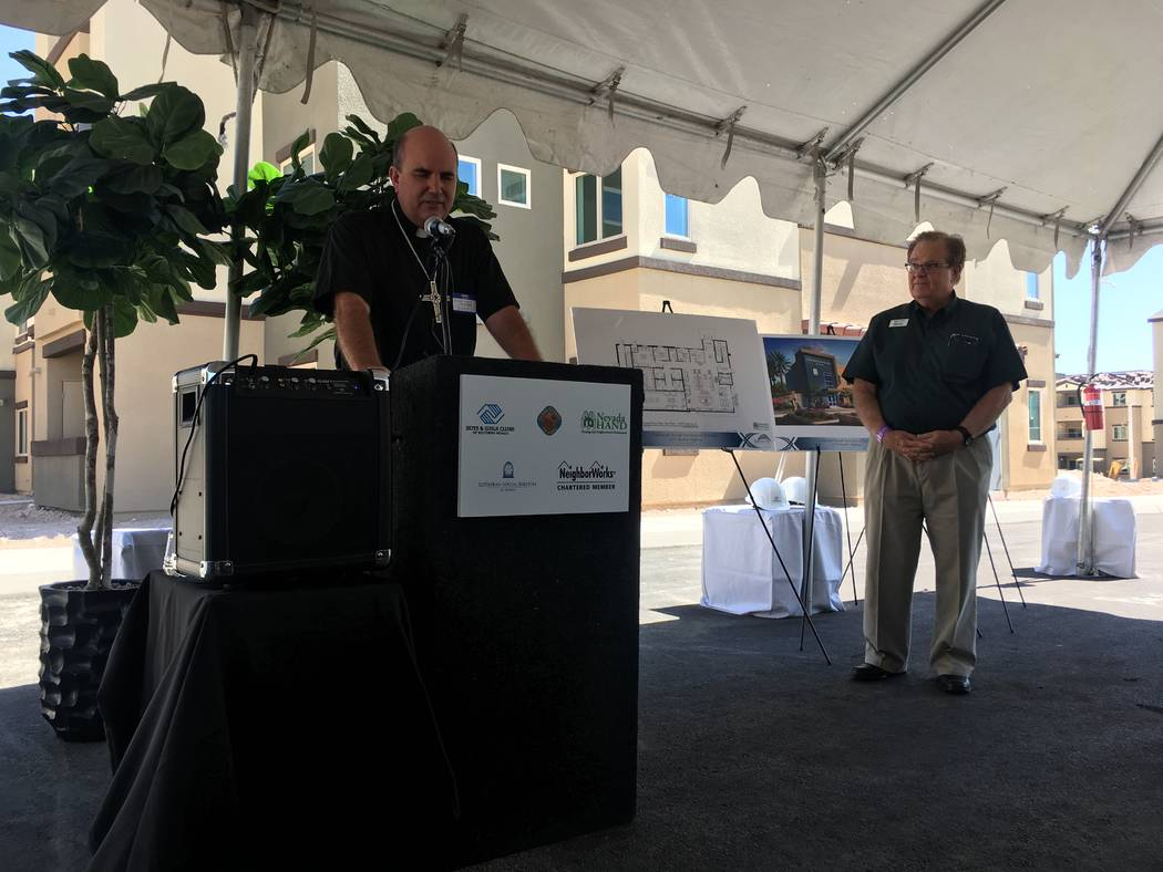 Bishop Stephen Talmage of the Grand Canyon Synod Evangelical Lutheran Church in America says a prayer before the groundbreaking of the non-profit campus on June 29, 2017, off of Boulder Highway. T ...