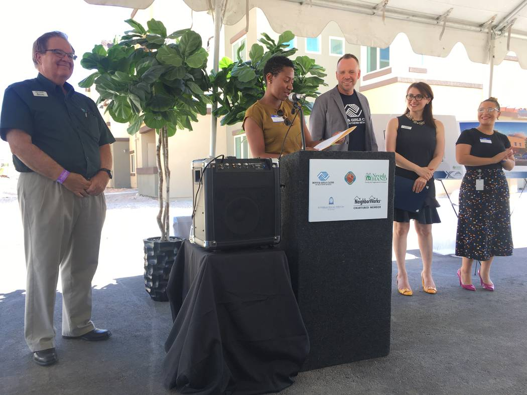 Employees of state leaders attended the non-profit campus groundbreaking event to congratulate Michael Mullin of Nevada Hand, Andy Bischel of Boys and Girls Club of Southern Nevada and Armena Mnat ...