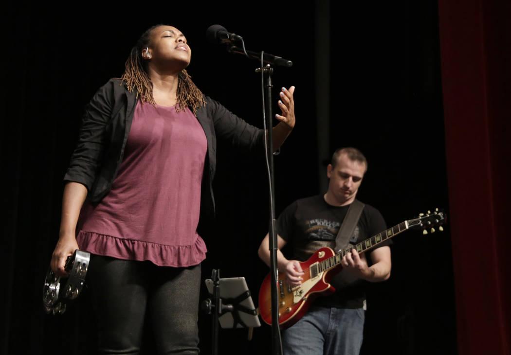Members of the band Between Sundays perform at the Historic Fifth Street School in Las Vegas, Saturday,July 8, 2017. (Gabriella Angotti-Jones Las Vegas Review-Journal @gabriellaangojo)
