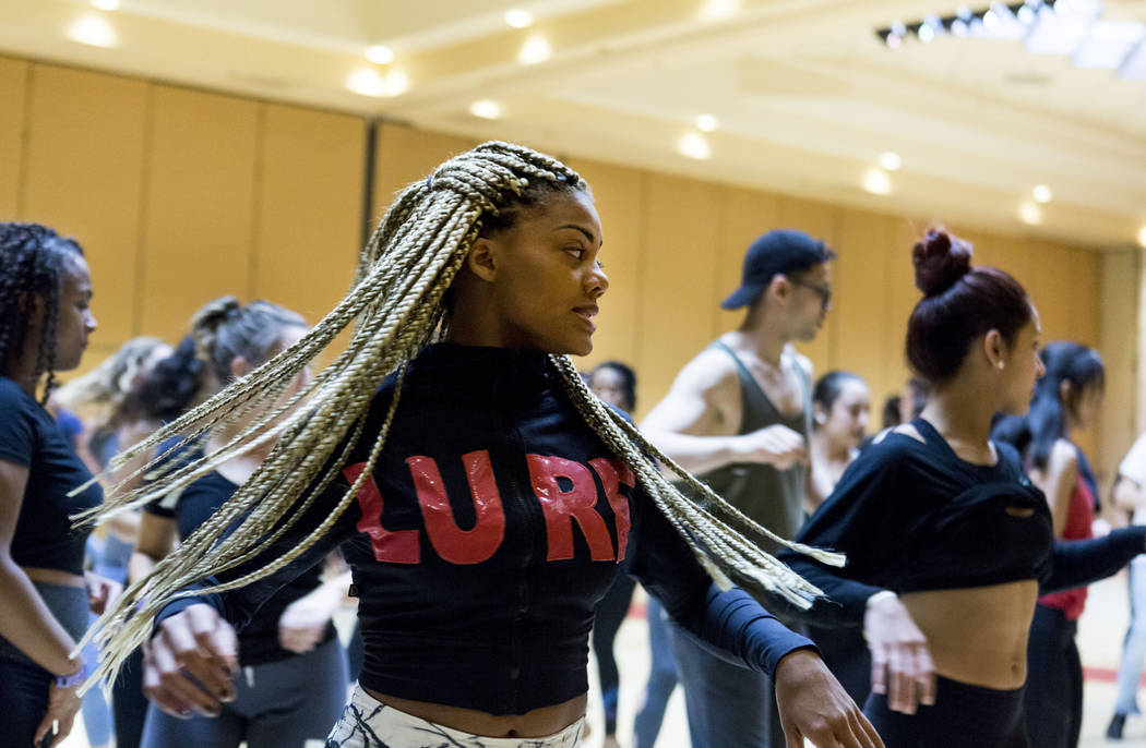 Delia Madera participates in a a workshop put on by Yamulee Salsa Dance Company during the Las Vegas Salsa Bachata Congress at the Tropicana hotel-casino in Las Vegas, Sunday, July, 2, 2017. Eliza ...