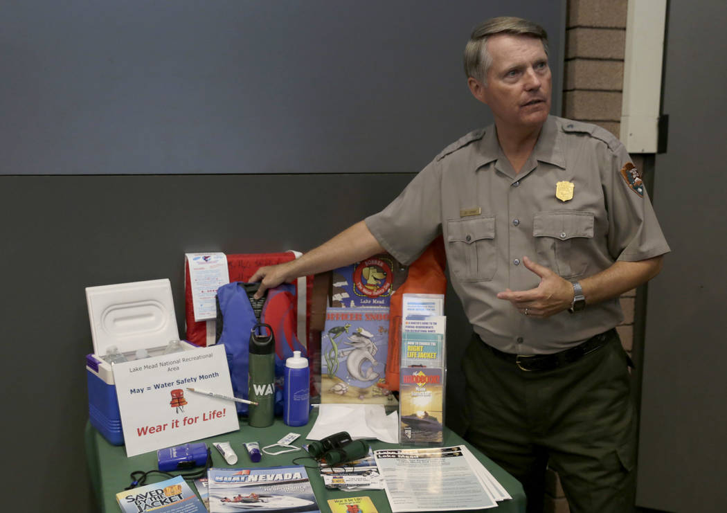 "Lee Lipinski, interpretive ranger for the Lake Mead National Recreation Area, explains the importance of using life jackets at the Lake Mead Visitor Center on Sunday, July 2, 2017. ""It's  ..."