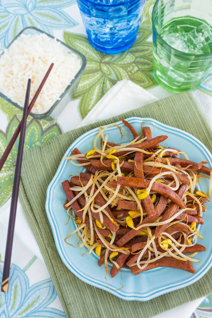 Hawaiian stir fry made with spam and bean sprouts