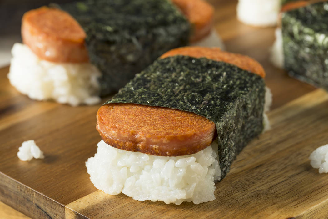 Homemade Healthy Musubi Rice and Meat Sandwich from Hawaii