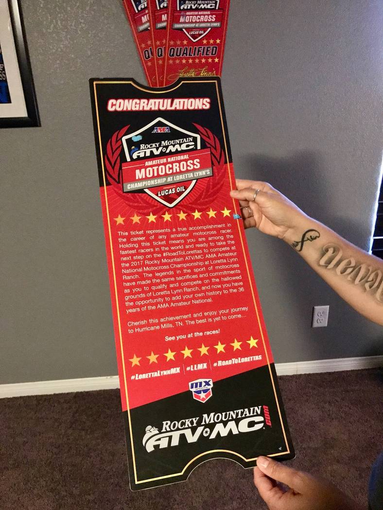 Devon's ticket to the Amateur National Motocross Championship at Loretta Lynn's ranch in Hurricane Mills, Tenn. hangs on his wall along with his other plaques and awards he's won. (Madelyn Reese/V ...