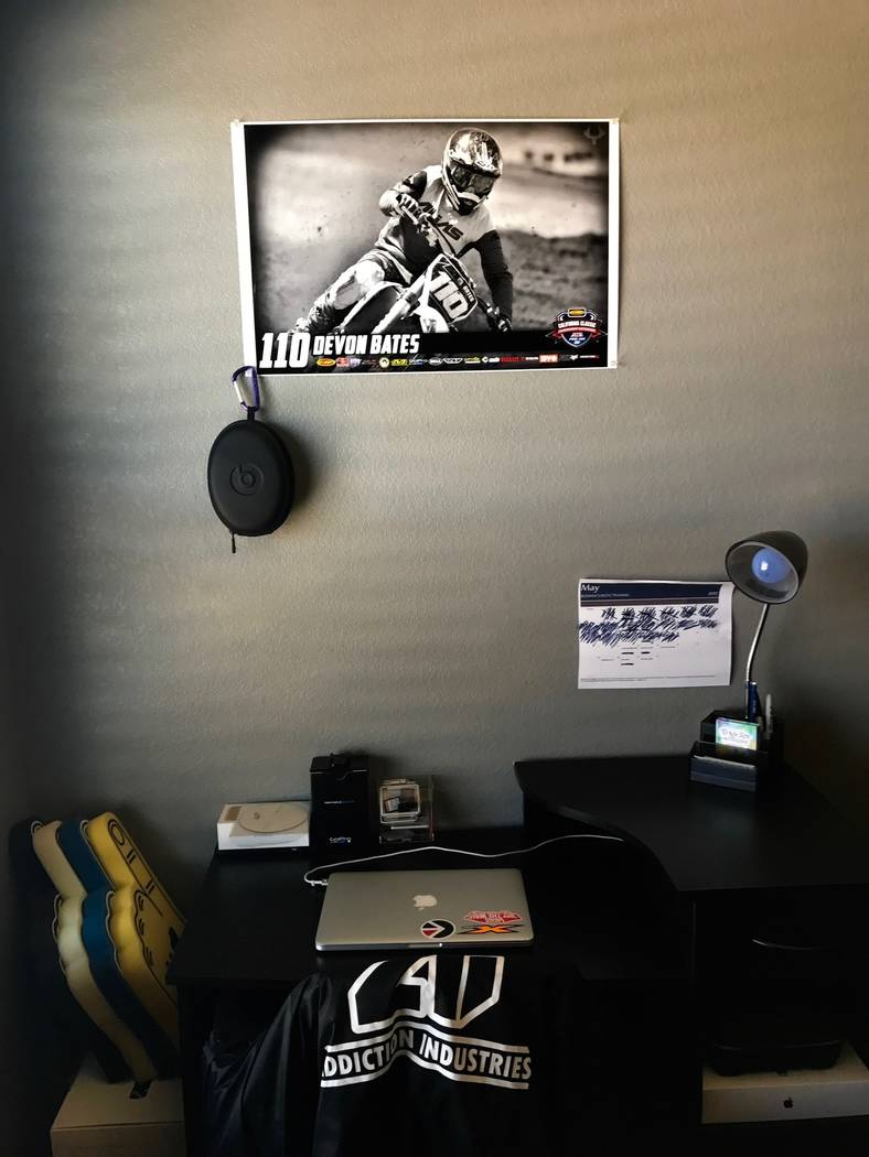 Devon's mom claims that she doesn't clean his room for him and he always keeps it spotless. She's the one that ordered the photo of him racing that hangs above his desk, though. (Madelyn Reese/Vie ...