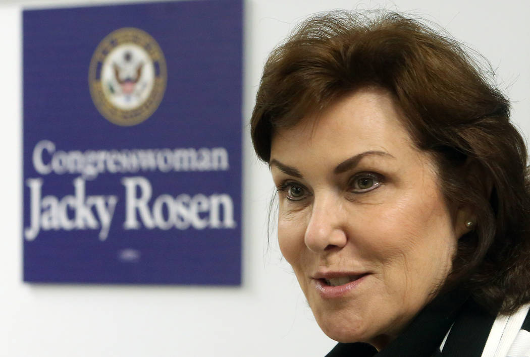 U.S. Rep. Jacky Rosen, D-Nev., hosts a roundtable discussion with College of Southern Nevada students on STEM and investing in cybersecurity on Friday, May, 12, 2017, in Henderson. Bizuayehu Tesfa ...