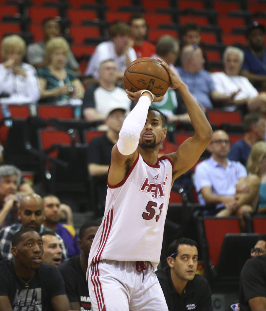 Miami Heat's Gian Clavell (53) shoots against the Washington Wizards during a basketball game at the NBA Summer League at the Cox Pavilion in Las Vegas on Wednesday, July 12, 2017. Chase Stevens L ...