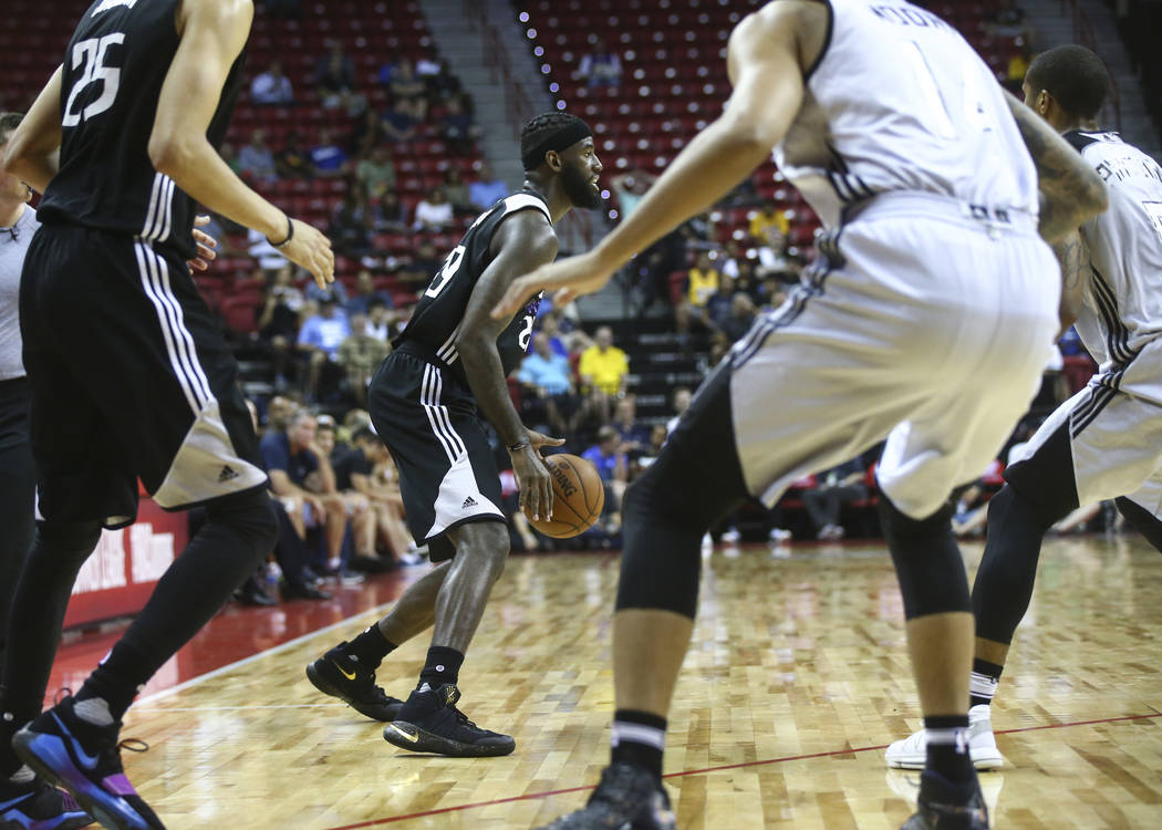 Sacramento Kings' JaKarr Sampson (29) drives the ball against the Milwaukee Bucks during a basketball game at the NBA Summer League at the Thomas & Mack Center in Las Vegas on Wednesday, July  ...