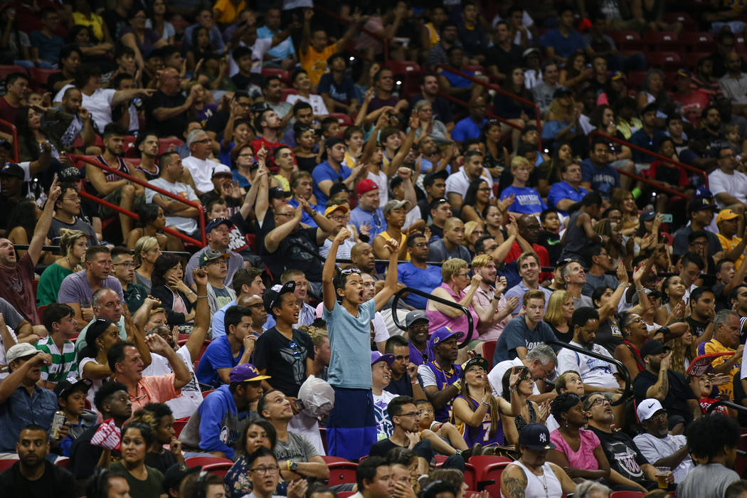 The crowd cheers in the last few minutes of the Los Angeles Lakers versus Dallas Mavericks NBA Summer League semifinal game at Thomas and Mack Center on Sunday, July 16, 2017, in Las Vegas. The La ...