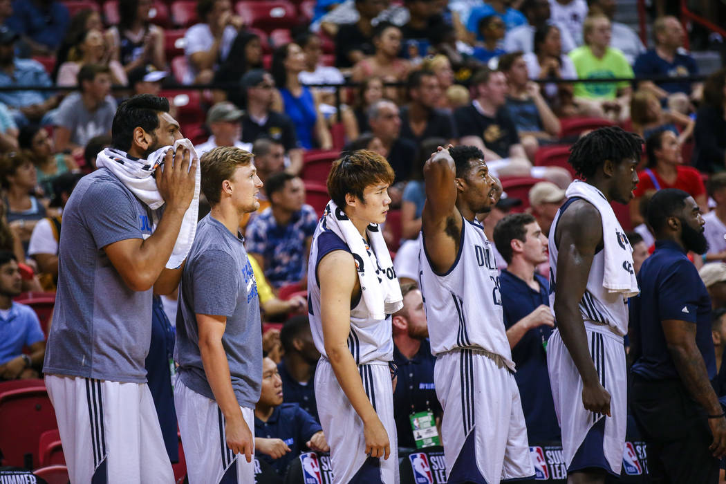 Players of the Dallas Mavericks during the third quarter at the NBA Summer League semifinal game at Thomas and Mack Center on Sunday, July 16, 2017, in Las Vegas.