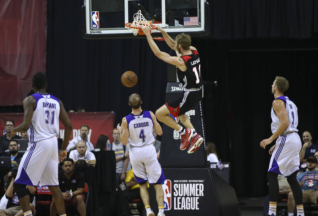 Portland Trail Blazers' Jake Layman (10) dunks against the Los Angeles Lakers during the NBA Summer League championship game at the Thomas & Mack Center in Las Vegas on Monday, July 17, 2017.  ...