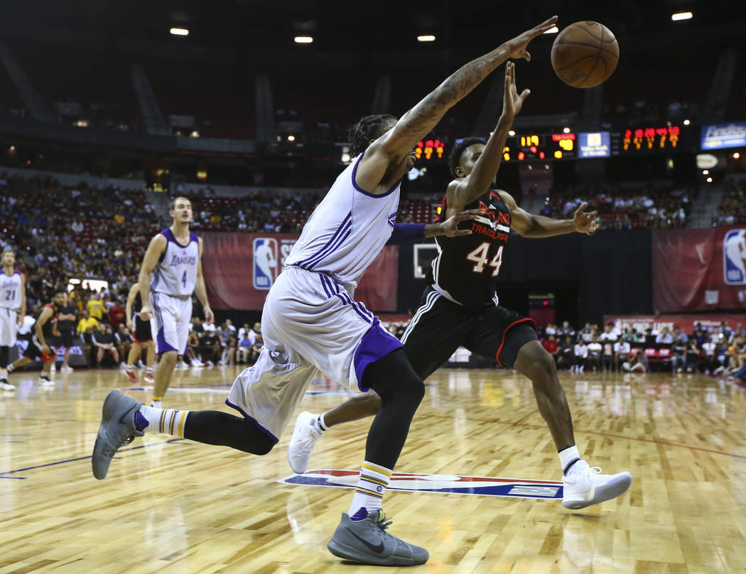 Los Angeles Lakers' Vander Blue (1) chases down a rebound against Portland Trail Blazers' Antonius Cleveland (44) during the NBA Summer League championship game at the Thomas & Mack Center in  ...