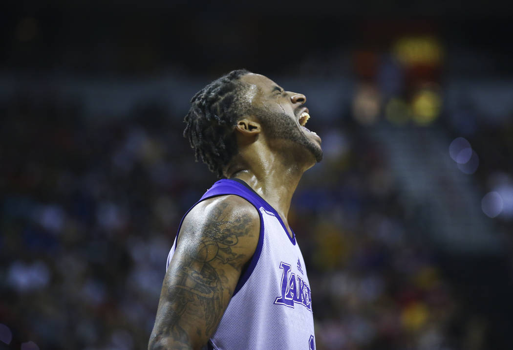 Los Angeles Lakers' Vander Blue (1) reacts during the NBA Summer League championship game against the Portland Trail Blazers at the Thomas & Mack Center in Las Vegas on Monday, July 17, 2017.  ...