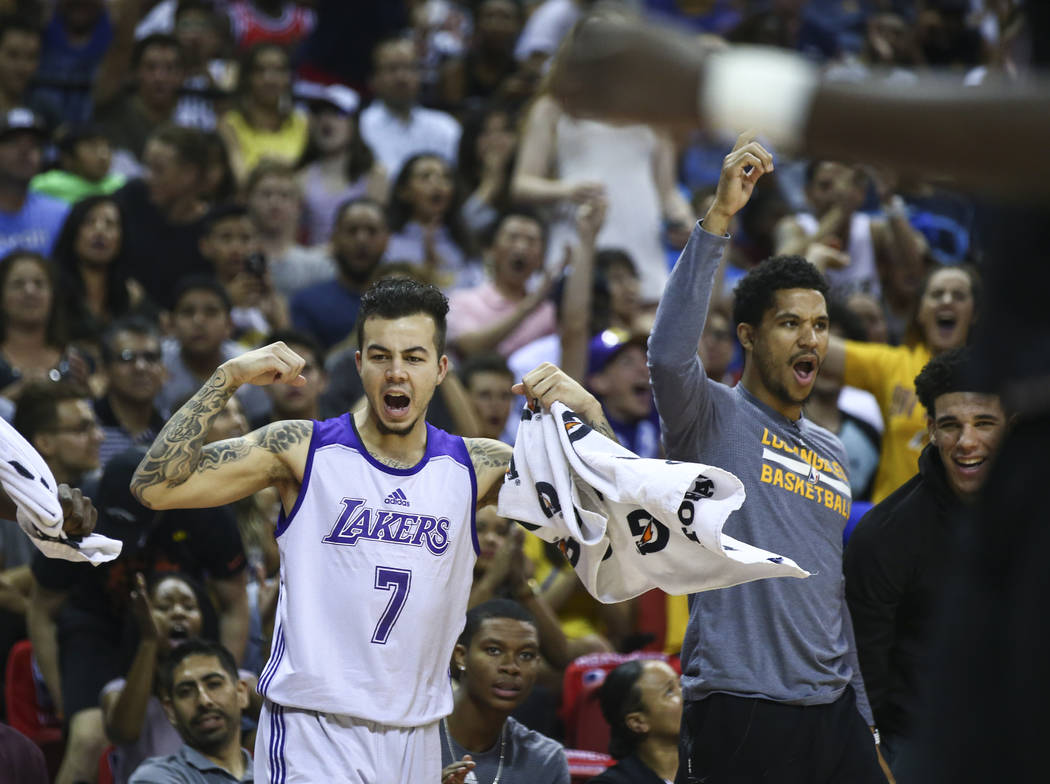 Los Angeles Lakers' Gabe York (7) reacts during the NBA Summer League championship game against the Portland Trail Blazers at the Thomas & Mack Center in Las Vegas on Monday, July 17, 2017. Ch ...