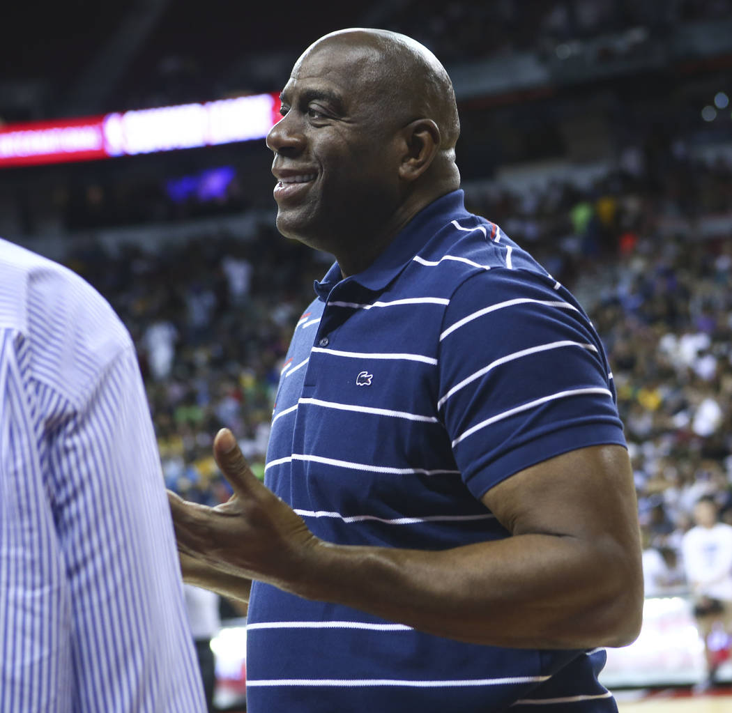Magic Johnson ahead of the Los Angeles Lakers game against the Portland Trail Blazers during the NBA Summer League championship game at the Thomas & Mack Center in Las Vegas on Monday, July 17 ...