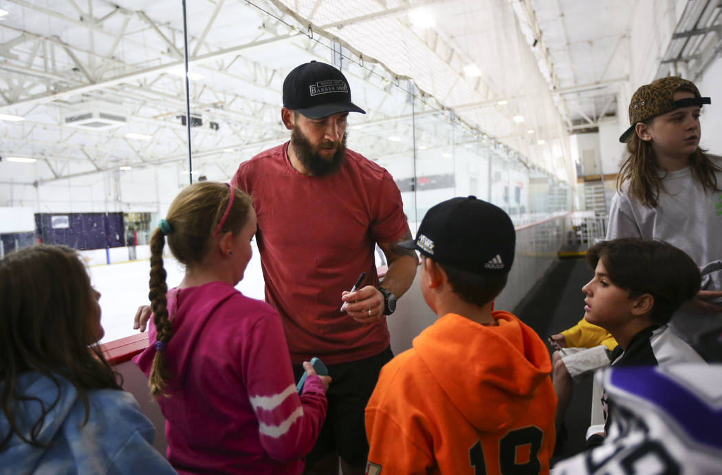 Vegas Golden Knights' Deryk Engelland talks with young fans at the Las Vegas Ice Center in Las Vegas on Friday, June 30, 2017. Chase Stevens Las Vegas Review-Journal @csstevensphoto