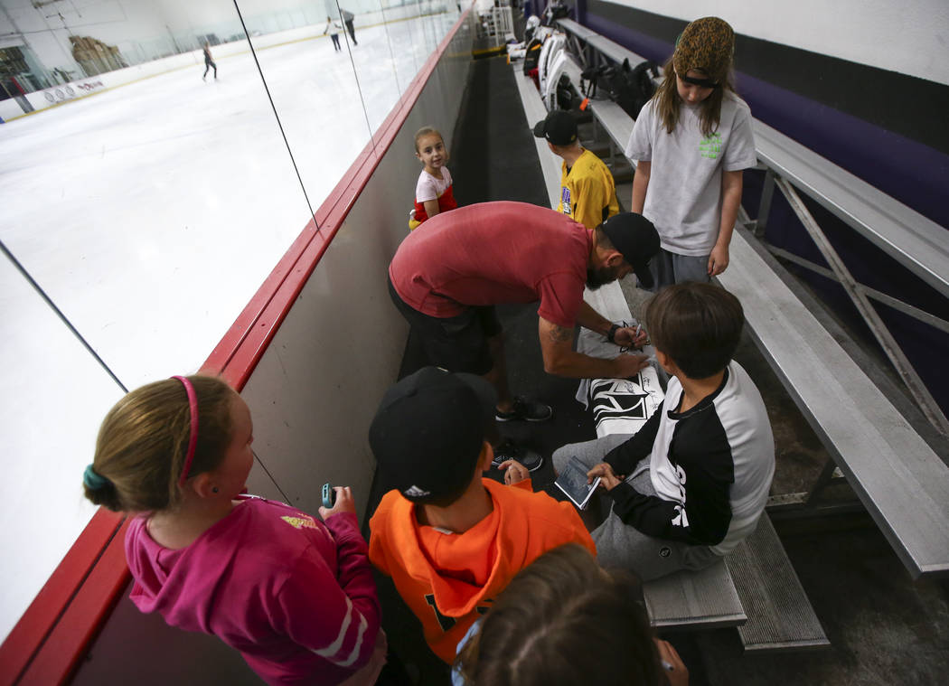 Vegas Golden Knights' Deryk Engelland signs autographs for young fans at the Las Vegas Ice Center in Las Vegas on Friday, June 30, 2017. Chase Stevens Las Vegas Review-Journal @csstevensphoto