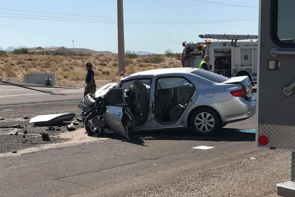 Dozens of people were hurt when a Toyota Corolla collided with a tour bus full of passengers Friday in Bullhead City, Arizona. (Bullhead City Fire Department)