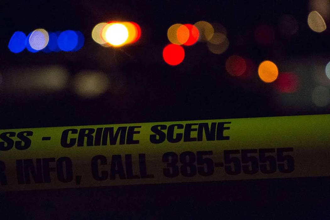 Las Vegas police responded about 10:30 p.m. Friday to reports of gunshots and a man down in the street by a small residential park near Blue Diamond and Fort Apache roads. (Las Vegas Review-Journa ...