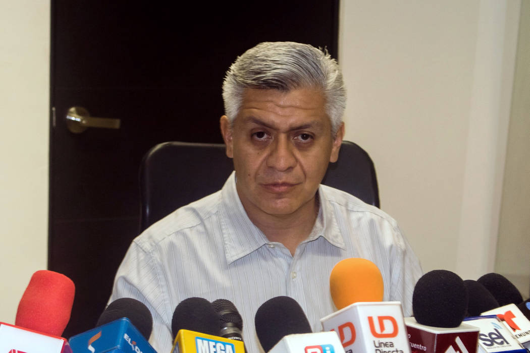 Cristobal Castaneda Camarillo, Undersecretary of the Secretary of Public Security in the Sinaloa state, addresses the media during a news conference in Culiacan, Mexico, July 1, 2017. (Jesus Busta ...