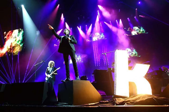 Brandon Flowers of The Killers performs during the grand opening of the T-Mobile Arena in Las Vegas on Wednesday, April 6, 2016. (Chase Stevens/Las Vegas Review-Journal) Follow @csstevensphoto)