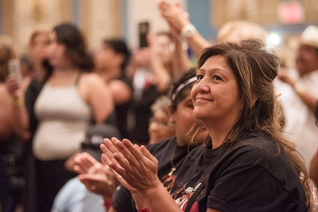 Sandra Pineda applauds for a music band at the Tejano Music National Convention at Paris hotel-casino on Saturday, July 1, 2017, in Las Vegas. Morgan Lieberman Las Vegas Review-Journal