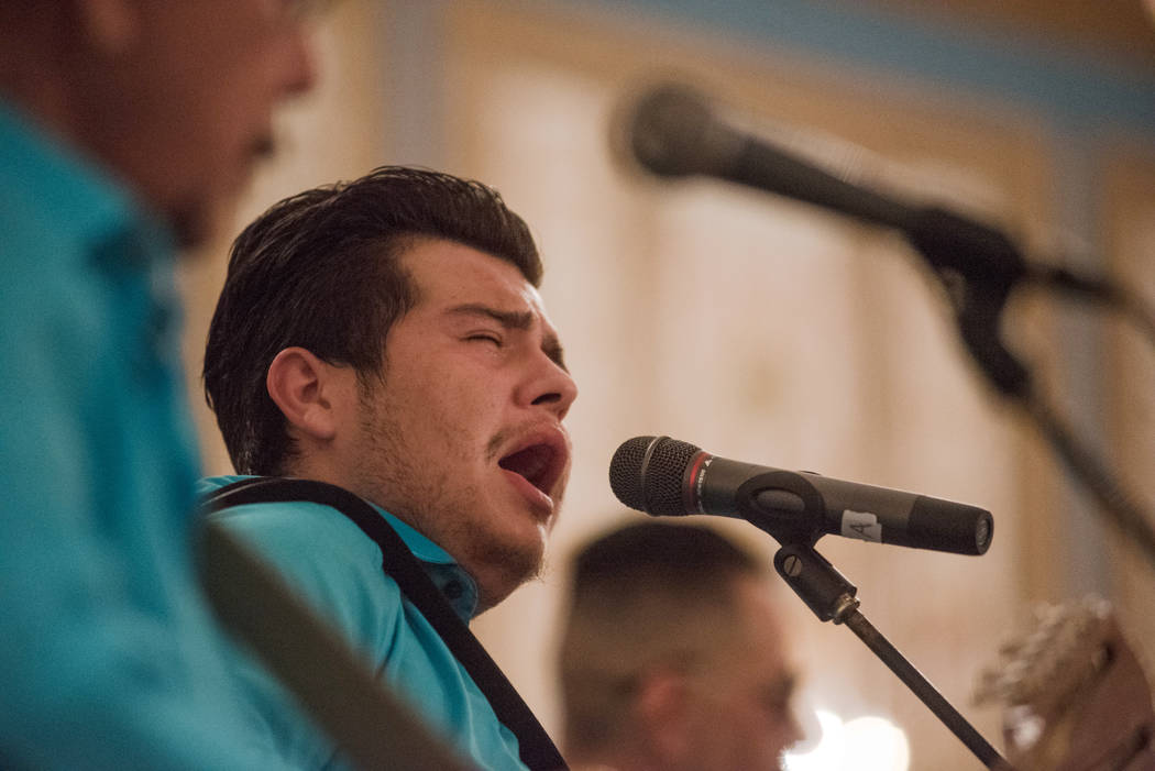 "Joel Gloria of ""Texas Funk"" music band performs at the Tejano Music National Convention at Paris hotel-casino on Saturday, July 1, 2017, in Las Vegas. Morgan Lieberman Las Vegas  ..."
